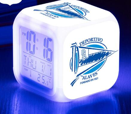 Deportivo Alaves, S.A.D. LED Alarm Clock La Liga soccer Team Digital Watch 7 color Flash Desk clock USB Cable Free Xmas Toy Gift
