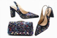 Navy blue italian shoes and bag matching set with many colorful stones italian shoes and bag matching set free shipping SB8387 4