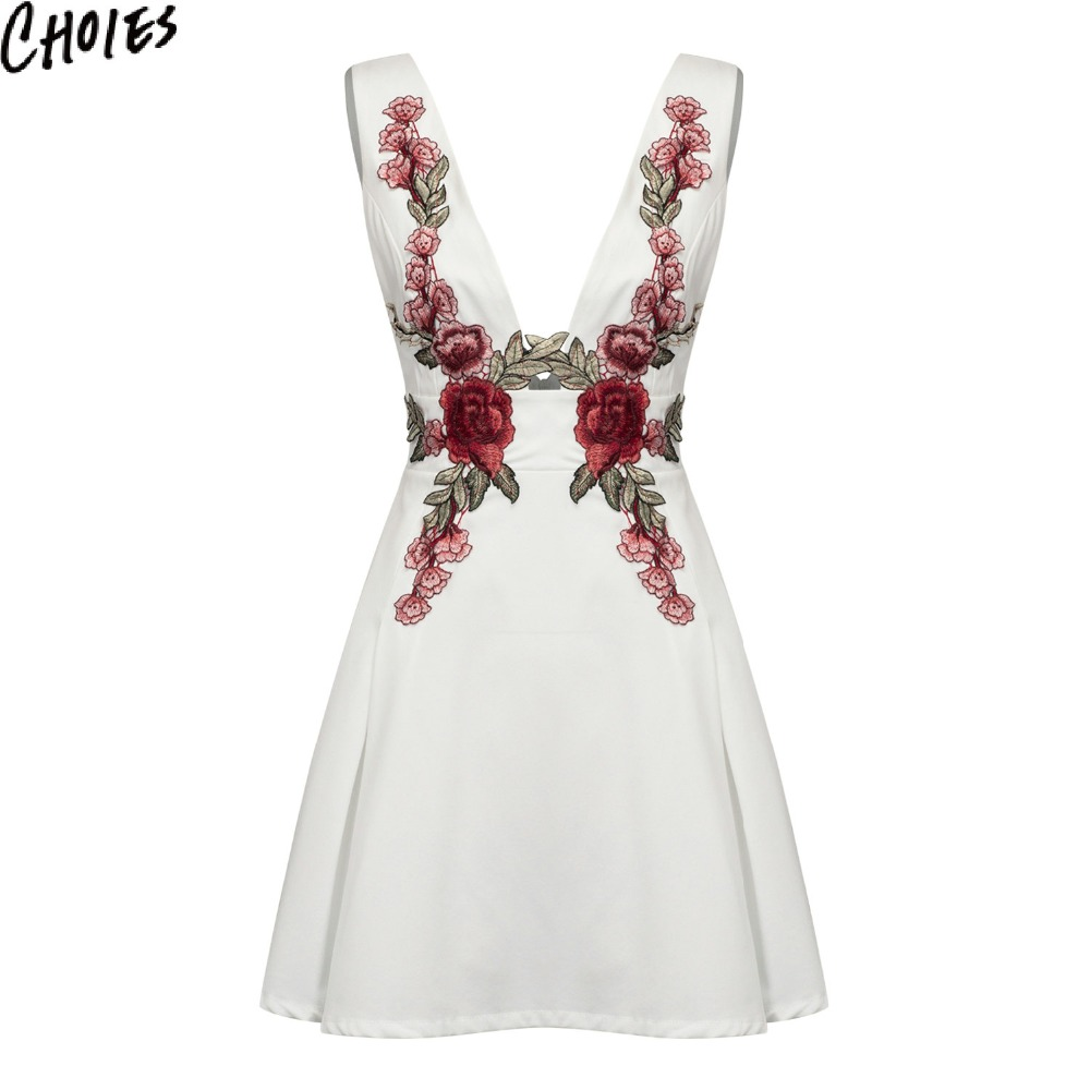 Women embroidery dress colors vintage deep v neck sexy