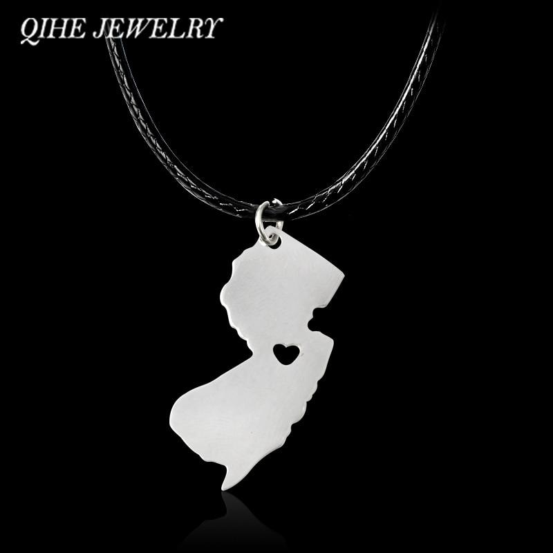 QIHE JEWELRY Silver Color USA State I Heart Necklace New Jersey,Minnesota,Florida,Ohio,,,USA States Map Necklace Jewelry