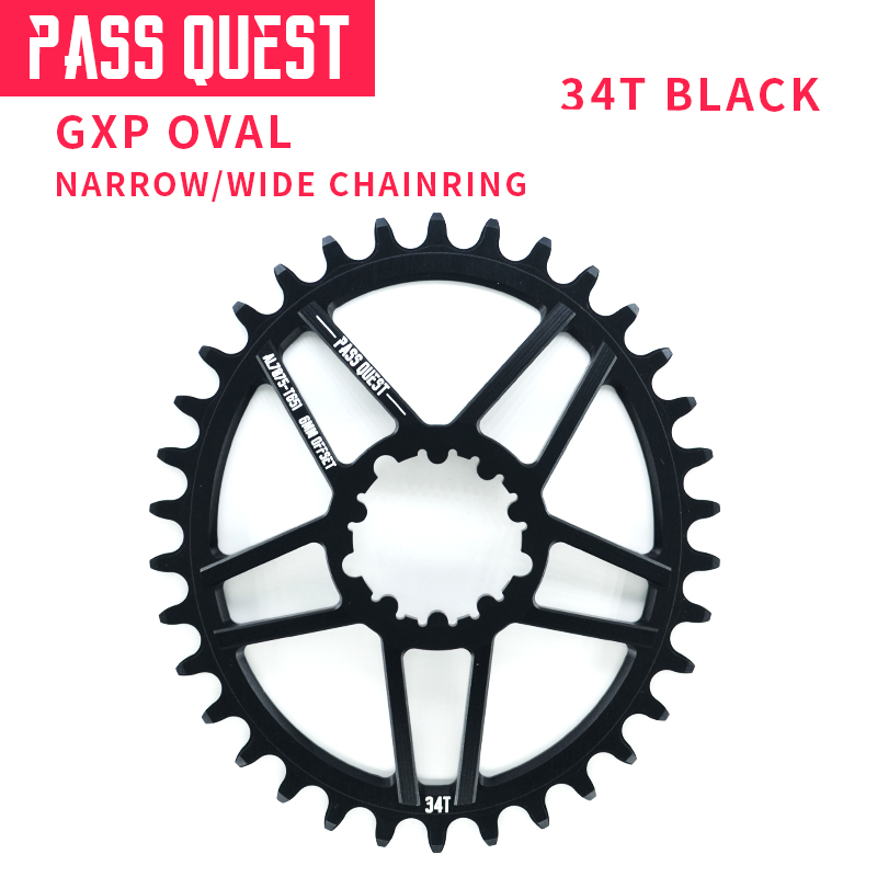 Pass Quest Bicycle 34T Front Chainring GXP Eagle GX 1400 BB30 Chainwheel Alloy CNC Single Speed Oval Chain Wheel MTB Road Bike