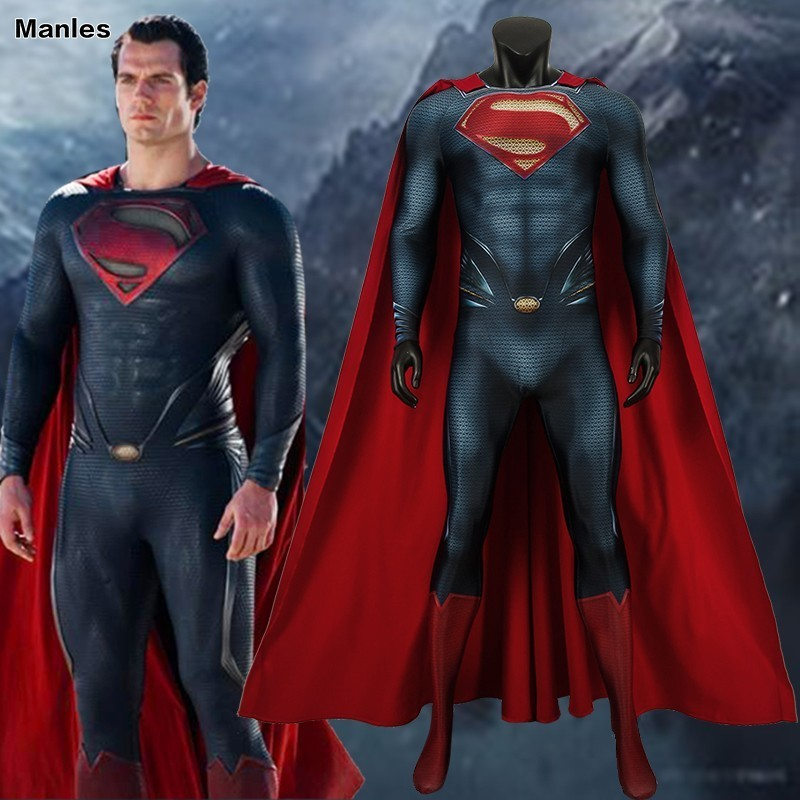 Superman Clark Kent Cosplay Costume Man Of Steel Superhero Halloween Cloak Men Jumpsuit Spandex 3D Print Avengers DC Comics