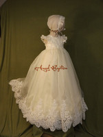 Sparkly Beaded ruffles White/ ivory lace appliques infant girl baptism dress baby christening dresses long gown with hat