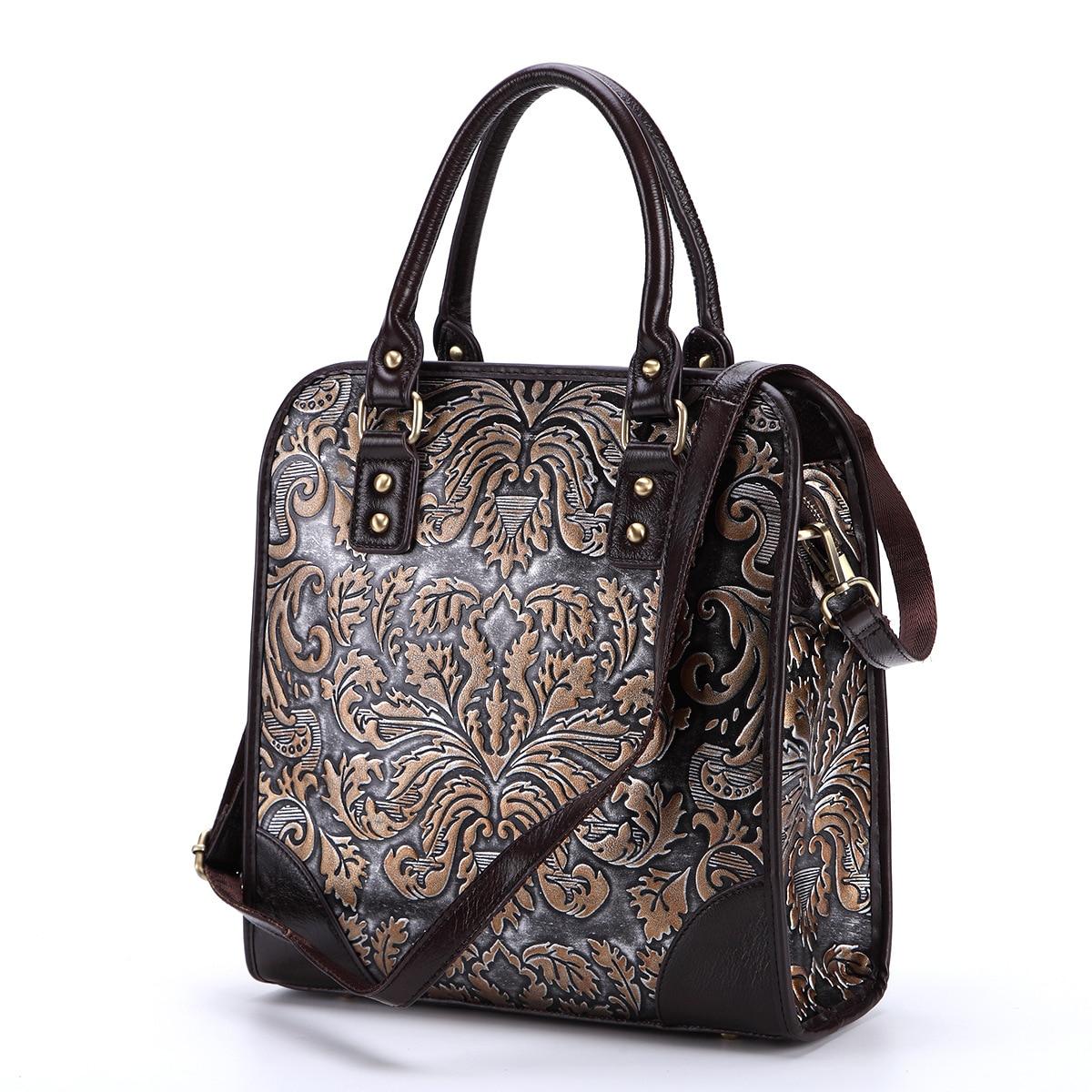 New vintage leather handbags shoulder bag rub color embossed craft handbags portable casual briefcase