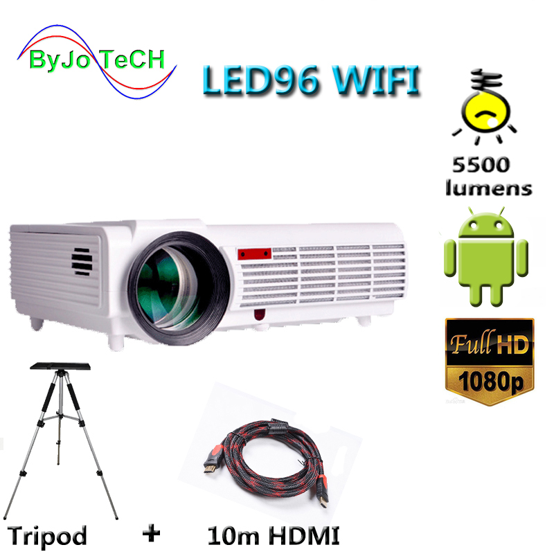 Poner Saund LED96 WIFI projector 3D 5500 Lums Full HD Android 6.0 Wireless Multi-screen interactive 10m HDMI Tripod 3D Proyector poner saund dlp100w pocket hd portable dlp projector micro wireless multi screen mini led battery hdmi usb portable home cinema