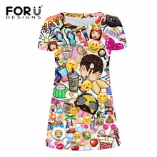 FORUDESIGNS Funny Emoji Printed Women Dress 2017 Fashion Brand Mini Smiley Face Emotion Lovely Streetwear Vestidos