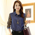 2017 fashion women clothing denim blouse shirt chiffon top long sleeve stripe cotton blue office shirts large sizes slim style