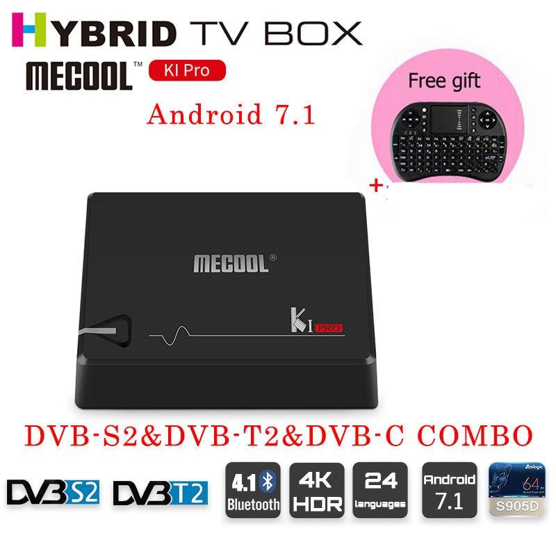 MECOOL ki pro s905d Android 7.1 DVB-S2&DVB-T2&DVB-C COMBO android TV Box 2GB 16GB 4k satellite receiver 64 bit Quad Core KI pro android 5 1 dvb t2 dvb s2 satellite tv receiver combo kodi 5g wifi bluetooth 4 0 digital cccam newcam pro uhd 4k h 265 2gb ram