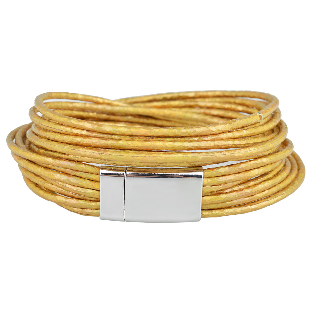 Kirykle 4 color metallic charm bracelet multiple layers wrap leather bracelet High quality magnetic clasp bracelet for women