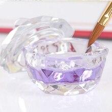 Salon Nail Spa Tool Crystal Glass Dish Cup Nail Art Acrylic