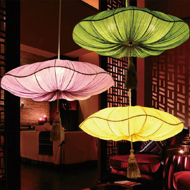 Chinese Cloth Lily Lantern Pendant Lights Retro Bedroom Living Room Dining  Room Red / Green /