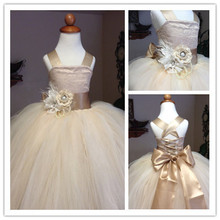2015 First Communion Dresses Ball Gown Champagne Flower Girls Pageant Dresses for Weddings Straps Flowers Sash Lace Up Long