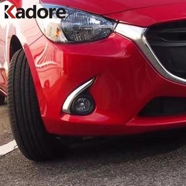 For Mazda 2 DEMIO DJ Hatchback 2014-2018 ABS Chrome Front Fog Light Eyebrow Cover Foglight Eyelids Trim Bar Garnish Accessories