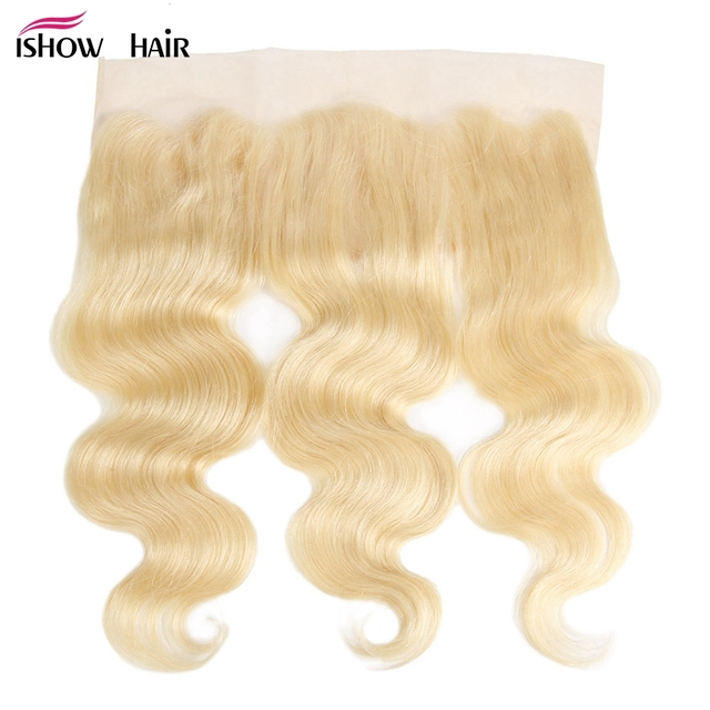 Ishow Body Wave Lace Frontal Brazilian Blonde Human Hair 13X4 Ear To Ear Lace Closure 613 Pre Plucked Frontal Closure Remy Hair