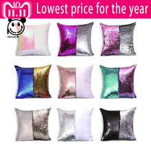 Magical Color Changing Reversible Pillow Case Cover DIY Mermaid Pink Blue Silver Rose Gold White Sequins Cushion