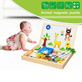 Multifunctional Educational Farm Jungle Animal Wooden 3D Magnetic Puzzle Toy for Children Kids Jigsaw Baby's Drawing Easel Board