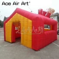 Customized full red inflatable carnival treat shop,inflatable concession bar booth with 1 door for candyfloss promotion