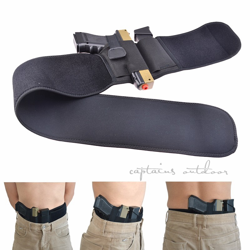 Mão esquerda ou direita barriga banda coldre pistola holsters se encaixa para glock 17 18 19 22 23 31 32 e mais pistola
