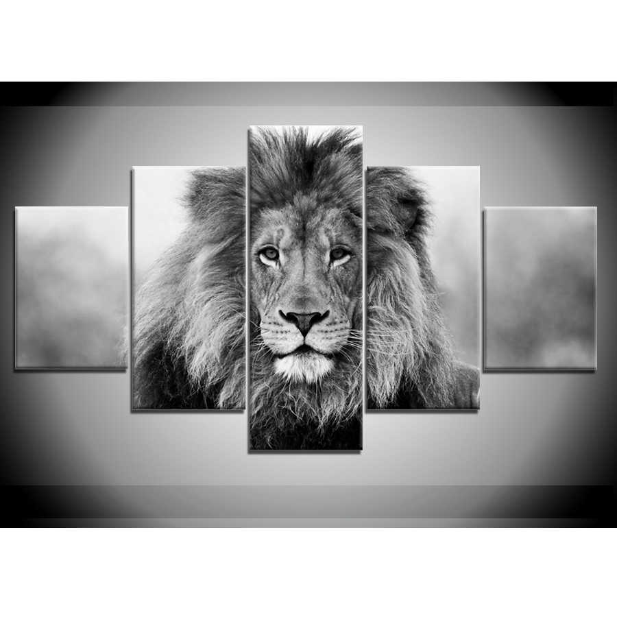 5 pieces canvas paintings Black White Animal Lion Pictures home decor poster print wall art WD-1323