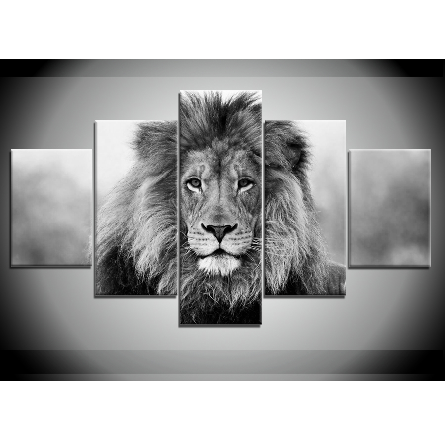 5 pieces canvas paintings black white animal lion pictures home decor poster print wall art wd 1323