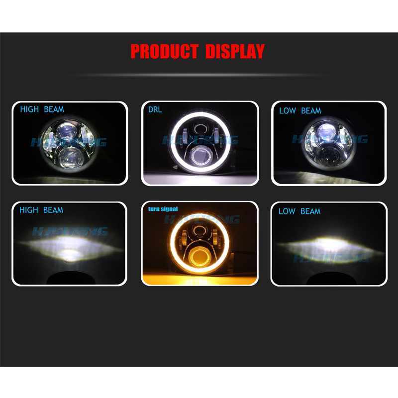 "Image 5 - For Land Rover Defender 7""Inch 50w LED Headlights High Low Beam Angel Eye DRL Amber Turn Signal for Jeep Wrangler JK Led Lights-in Car Light Assembly from Automobiles & Motorcycles"