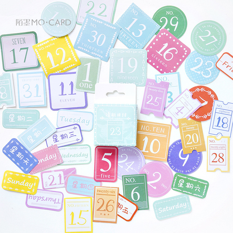 45pcs/pack Lovely Date Decorative Stickers Diy Sealing Paste Stick Label School Supply Stationery
