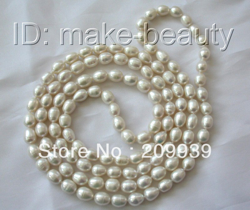 Hot sell  hui0019 stunning long 45 8 9mm baroque white freshwater cultured pearl necklace Top
