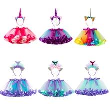 Cute Mermaid Dress Girls Costume Child Unicorn Cosplay Halloween For Kids Tutu Skirt Carnival Party Suit