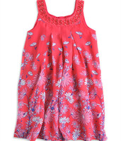 2015 Retail Girl Dress New Fashion Girls Dresses Floral Red With Diamond Chiffon Top Quality