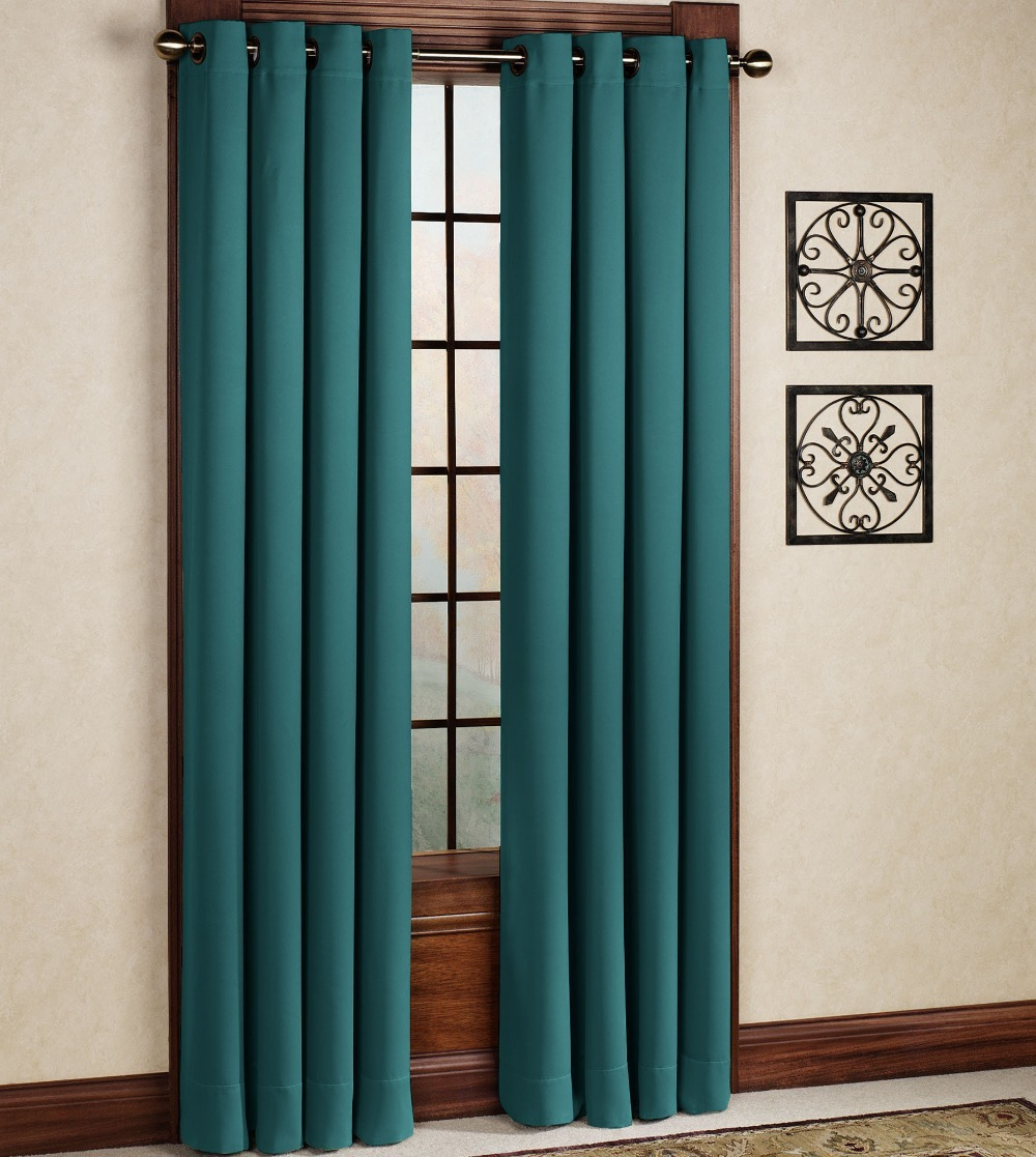 One curtain panel per window - One Panel Per Pack Turquoise Blue Drapes Solid Blackout Thermal Insulated Cortinas Grommet Eyelet Top French Window Curtian In Curtains From Home Garden