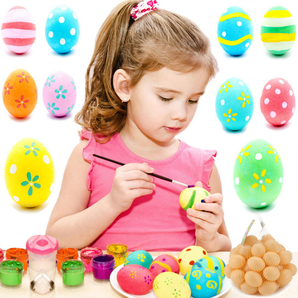 50 PCS Plastic Fake Simulation Eggs DIY Painting Graffiti Easter Eggs for Easter Day Decorations Kids Game