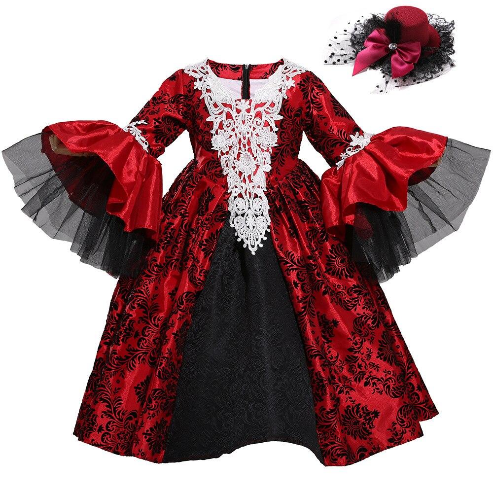 Renaissance Medieval Gothic Vampire Kostüme Cosplay Halloween Ball Modell Landebahn Kostüm Palace Kleid Hut Petticoat Vollen Satz - 5