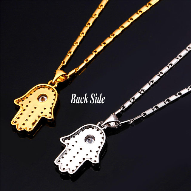 Online shop hamsa hand necklace gold color cubic zirconia pendants hamsa hand necklace gold color cubic zirconia pendants necklaces womenmen link chain amulet hand of fatima jewelry p1664 aloadofball Gallery
