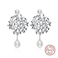 White Real Double Pearls Wishing Tree Drop Earrings For Women Sterling Silver Jewelry