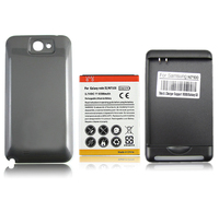 For Samsung Galaxy Note 2 II N7100 6500mAh Extended Replacement Phone Battery With Back Cover And