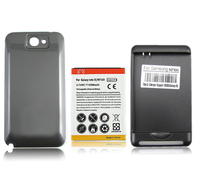 reputable site 54ef7 4f97e US $10.25 24% OFF|6500mAh High Capacity Extended Replacement Phone Battery  For Samsung Galaxy Note 2 II N7100 Battery with Back Cover and Charger -in  ...