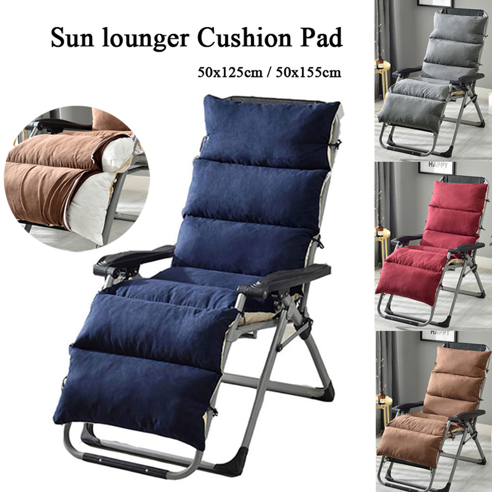 Sun Lounger Cushion Replacement Garden Suede Seat Cushion Padded Rocking Recliner Chair Pad with Removable Home Chair cushion