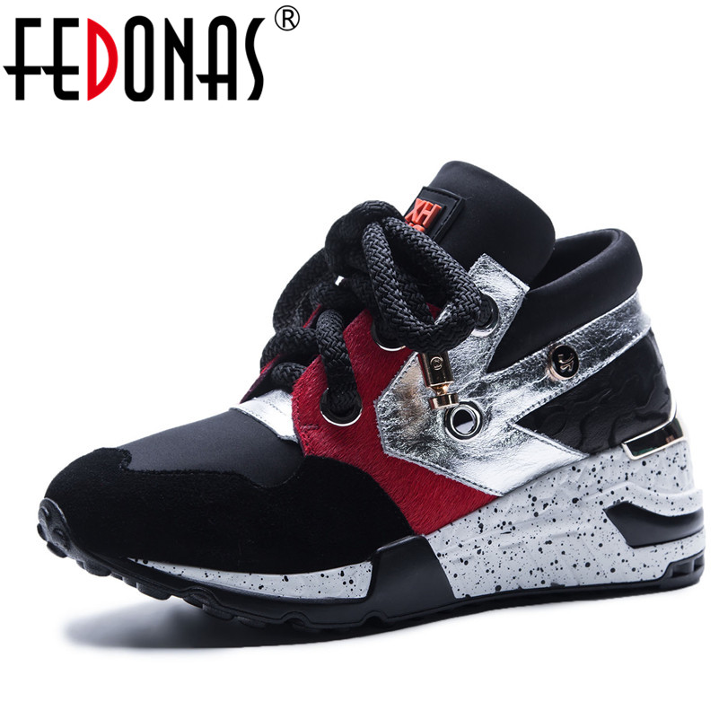 FEDONAS Brand 2018 New Fashion Women Platforms Genuine Leather Casual Shoes Woman Flats Shoes Ladies Lace up Sport Sneakers Shoe