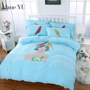 JaneYU 2019 Washed Cotton High Quality Soft 4PCS Bedding Sets Sheet ,Pillowcase & Duvet Cover Sets