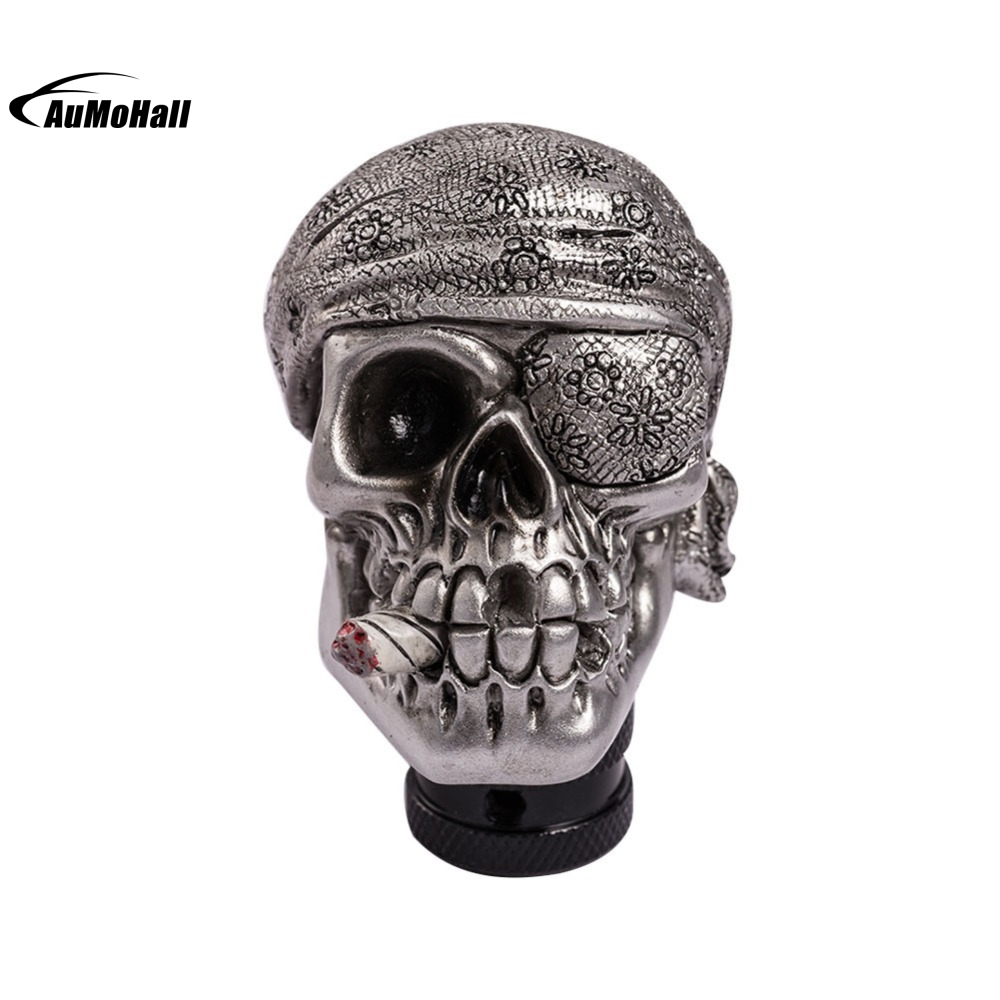 Skeleton Skull Head Car Modified Gear Shift Knob Stick Lever Shifter Universal Cyan Gear Shift Knob