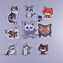 ФОТО clever cat  boy diy iron on patch clothes embroidery applique ironing clothing sewing supplies decorative badge sew on badges