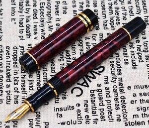 Image 5 - Мраморная ручка для целлюлоидного фонтана 22KGP, средний наконечник для письма, Подарочная чернильная ручка, янтарные/зеленые/красные цветы, приятный узор с клипсой под крокодила