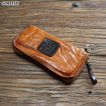 Luxury Brand Vintage Handmade 100% Genuine Leather Cowhide Mens Long Zipper Wallet Wallets Purse Clutch Bag Card Holder For Men