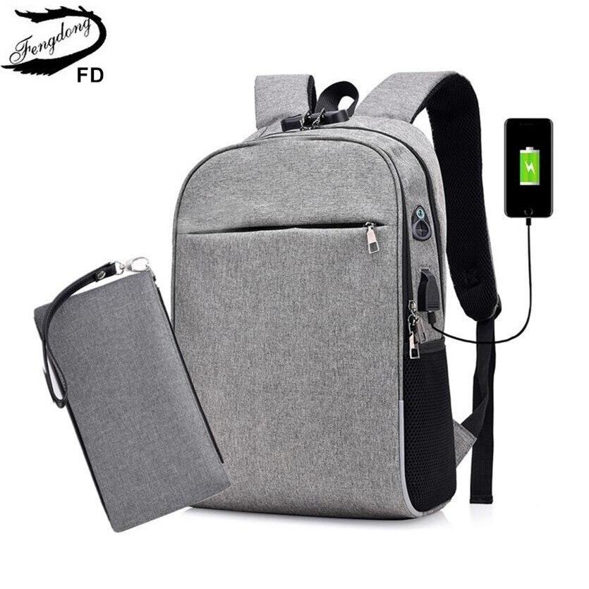 Fengdong Men Smart Backpack Anti Theft Password Lock Back Shoulder Bag Male Business Laptop Backpack Usb Port Boy Travel Bag