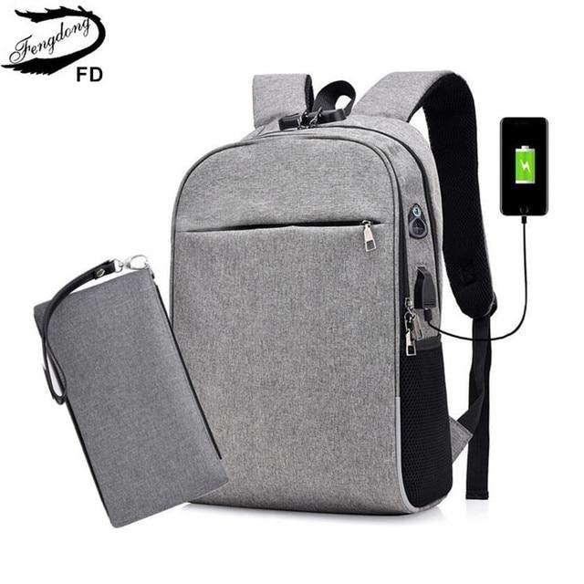 001f9fd05e8 FengDong men smart backpack anti theft password lock back shoulder bag male  business laptop backpack usb port boy travel bag