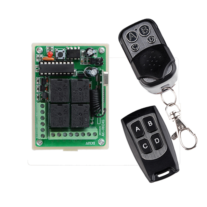 DC 12V 4 Channel Relay Wireless Lighting Remote Control Switch Syatem 315mhz 433mhz 10A 4CH Transmitter Receiver