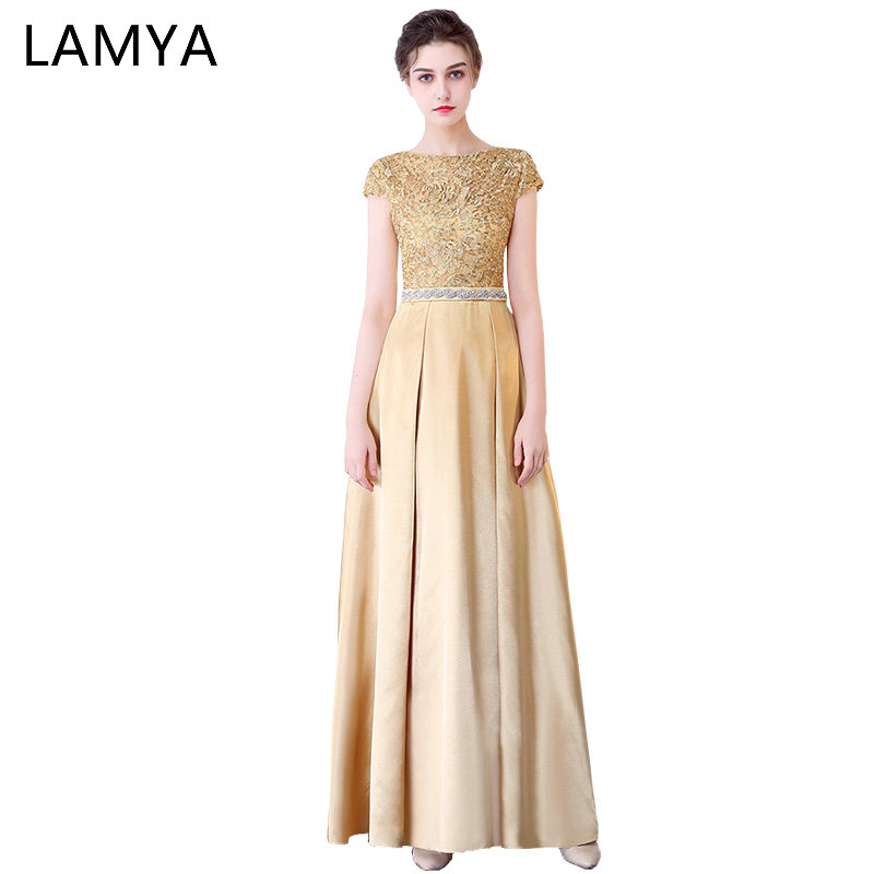 Lamya Gold Lace With Satin Prom Dresses 2018 Long A Line Elegant