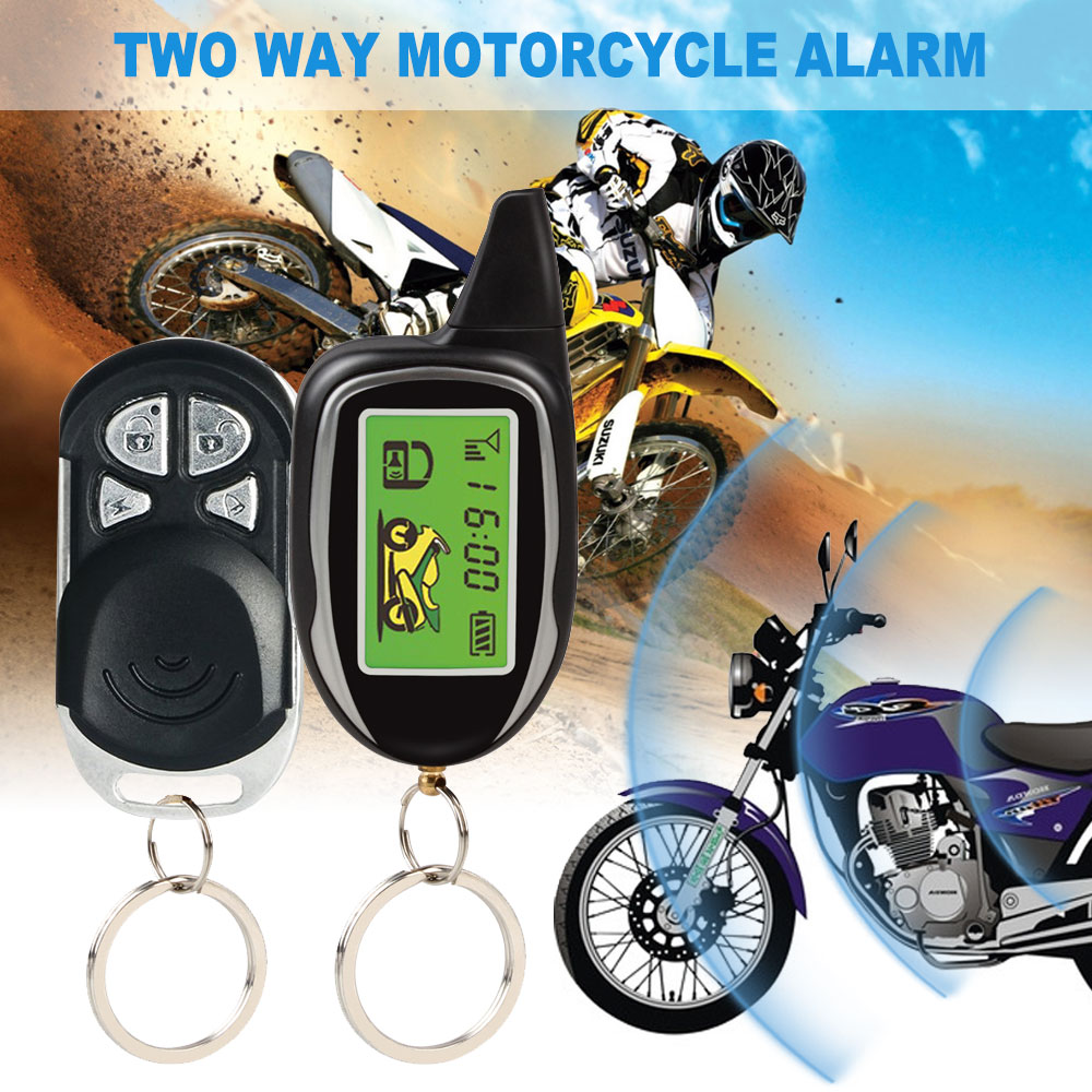 motorcycle two way security alarm system motorbike theft protection alarm shock motion sensor remote engine start
