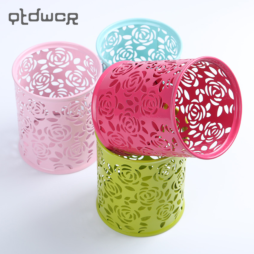 1PC Storage Organizer Hollow Rose Flower Pen Case Pencil Stand Container Stationary Study Round Pen Holders