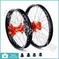 "03-14 21"" 19"" Front Rear MX Black Wheel Rim CNC Orange Hub for KTM 125-530 250 300 350 400 450 500 505 520 MXC SX F GS XC W SXS"